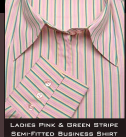 Ladies Pink And Green Stripe Semi- Fitted Business Shirt
