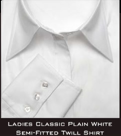 Ladies Classic- Plain White Semi- Fitted Twill Shirt
