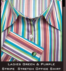 Ladies Green And Purple Stripe Stretch Office Shirt
