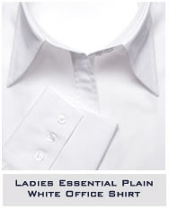 Ladies Essential Plain White Office Shirt