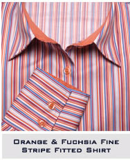 Orange & Fuchisa Fine Stripe Fitted Shirt